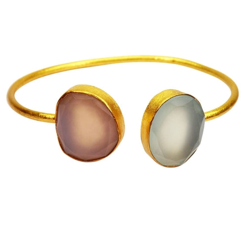 Gold-overlay Gemstone Bangle - Tokalene Jewelry