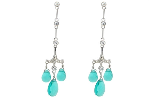 Aqua Green Crystal Chandelliers - Tokalene Jewelry