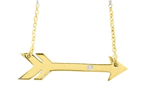 Sideways Golden Arrow Necklace - Tokalene Jewelry