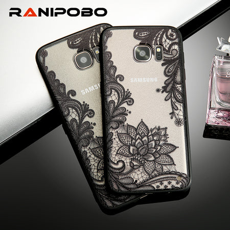 Lace Retro Vintage Floral Flower Printed Soft Case For Samsung Galaxy S7 S6 Edge S8 Plus - Tokalene Jewelry
