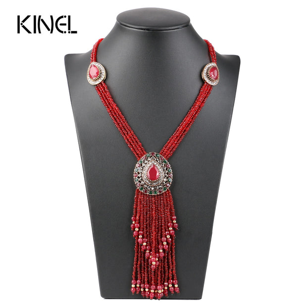Red Crystal Bead Necklace - Tokalene Jewelry