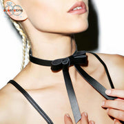 Punk Bow Pu Leather Chain Necklace - Tokalene Jewelry