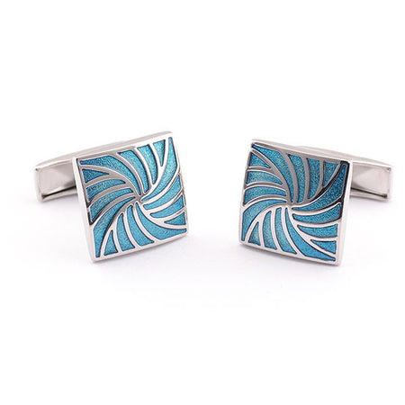 Swirl Blue Paint Cufflinks - Tokalene Jewelry