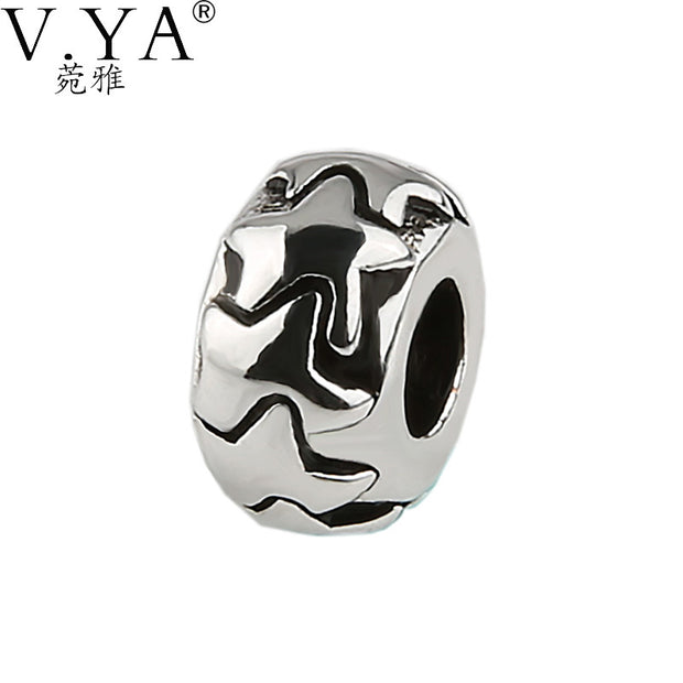 VYA Brand Stars Pattern Round Shape Bead New Fashion High Quality Big Hole Beads fit for Pandora Accessories PAZ96 - Tokalene Jewelry