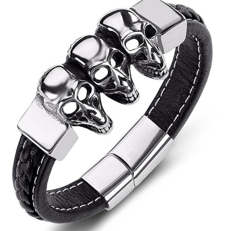 Skulls Braided Leather Bracelet - Tokalene Jewelry