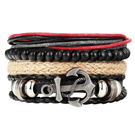 Multi-Layer Leather Anchor Bracelet - Tokalene Jewelry