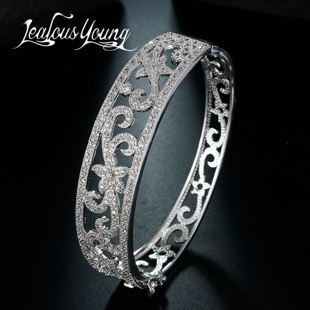 Wide Silver Plated Bangle - Tokalene Jewelry