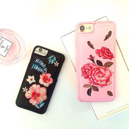 Embroidered peony flowers phone cases for iphone 7 - Tokalene Jewelry