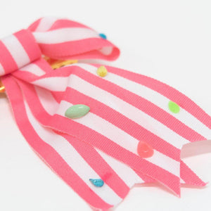 Pink Stripe Bow Hair Clip
