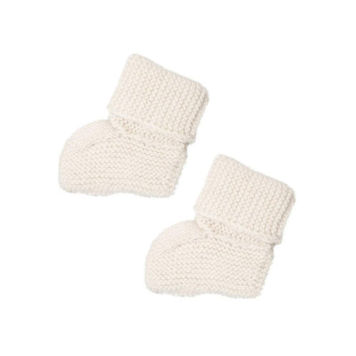 Gift Ideas -  Baby Clothing Knit Alpaca Baby Booties - Cream