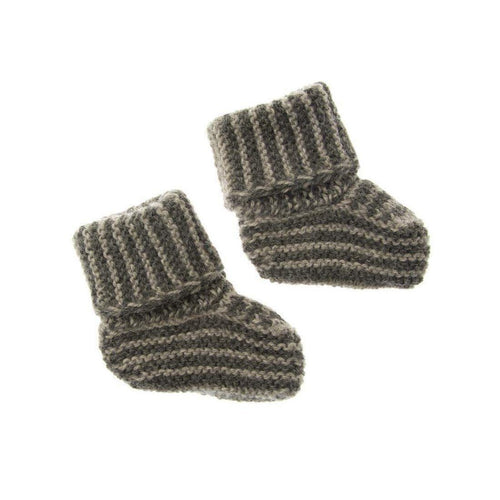 Gift Ideas -  Baby Clothing Knit Alpaca Baby Booties - Dark Grey