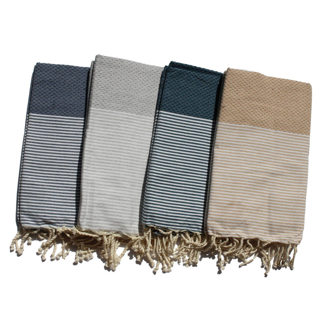 Gift Ideas -  Bath + Body 100% Egyptian Cotton Hammam Towels - Waffle Weave in 4 Patterns