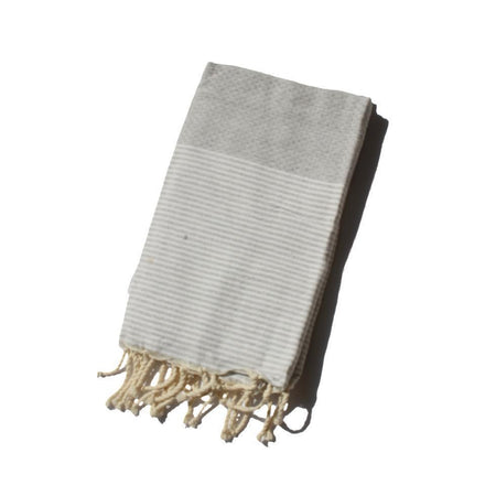 Handwoven Mixed Herringbone Heirloom Throw in Grey & Natural White