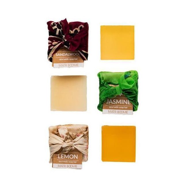 Gift Ideas -  Bath + Body Ayurvedic Mini Soap Bars - Lemon, Sandalwood, or Jasmine