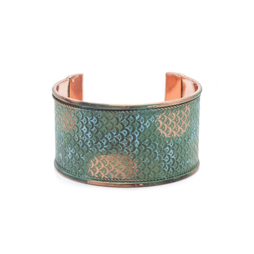 Gift Ideas -  Bracelets Art Deco Scallop Cuff - Patina