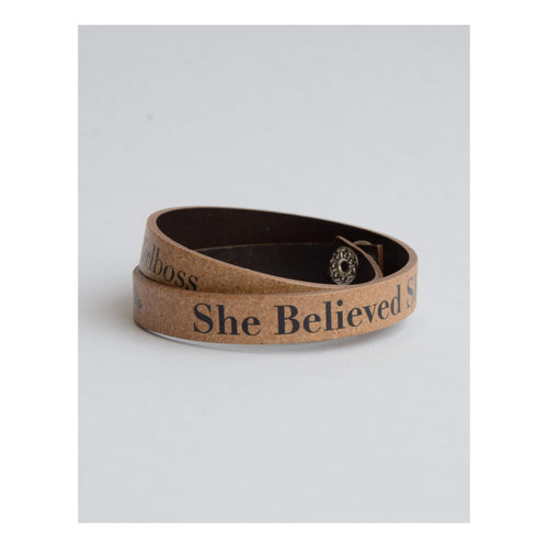 Gift Ideas -  Bracelets She Believed She Could Recycled Leather Bracelet