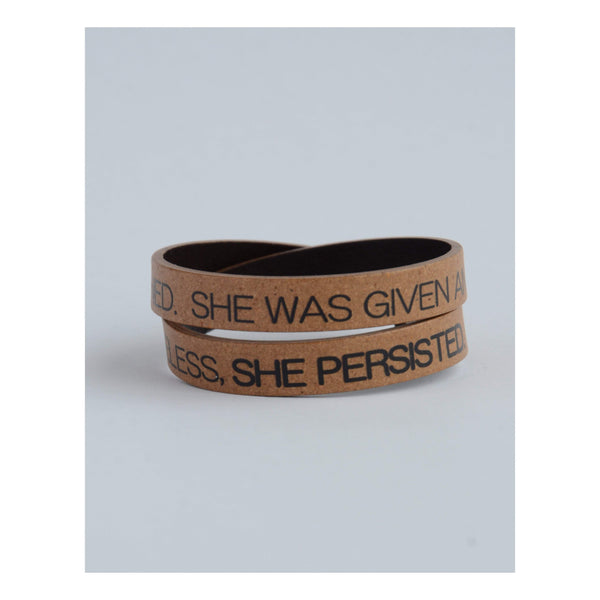 Gift Ideas -  Bracelets She Persisted Recycled Leather Bracelet
