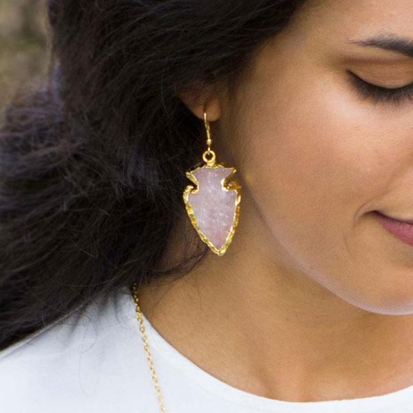 Gift Ideas -  Earrings Abbakka Arrowhead Rose Quartz Earrings