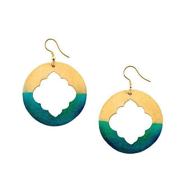 Gift Ideas -  Earrings Ashram Window Earrings - Gold Patina