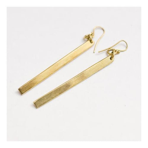 Gift Ideas -  Earrings Bar Earrings - Brass or Silver