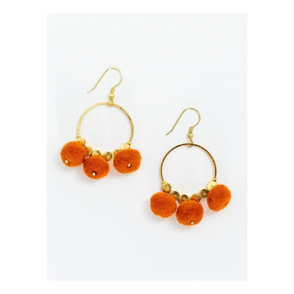 Gift Ideas -  Earrings Dangling Pom Earrings - Black or Orange