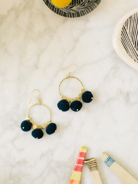 Gift Ideas -  Earrings Dangling Pom Earrings - Navy or Orange