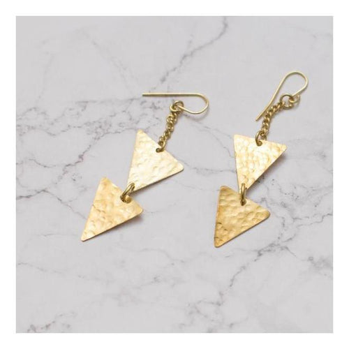 Gift Ideas -  Earrings Dangling Triangle Earrings - Brass or Silver