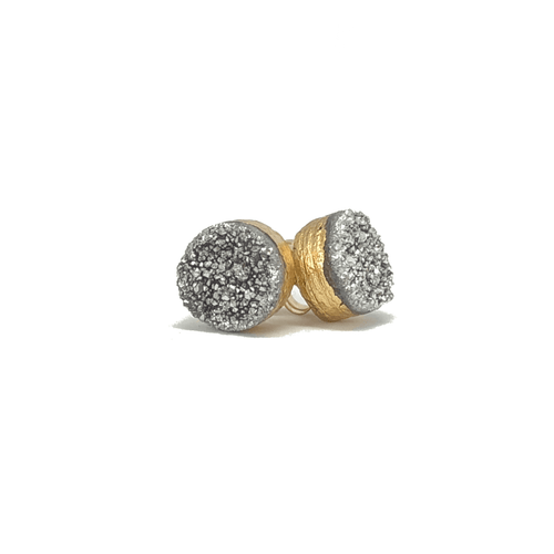 Gift Ideas -  Earrings Druzy Quartz Stud Earrings - Silver, Champagne, or White