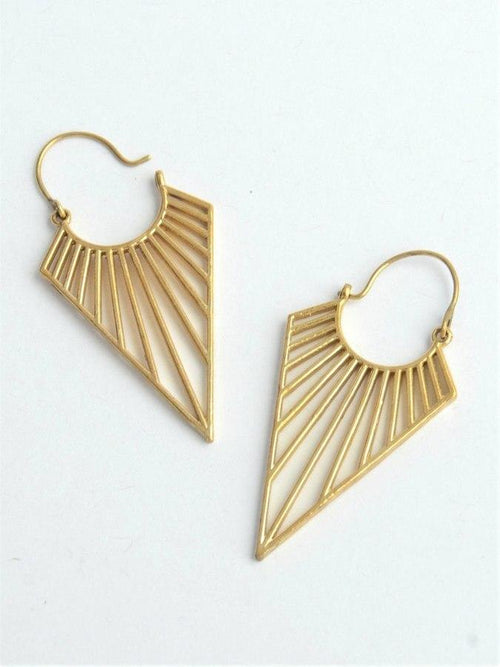 Gift Ideas -  Earrings Geometric Triangle Brass Earrings