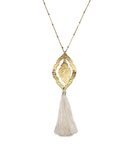 Gift Ideas -  Earrings Nihira Ashram Window Necklace with Gold Tassel