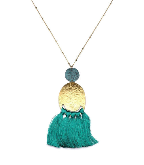 Gift Ideas -  Earrings Nihira Tassel Necklace in Teal