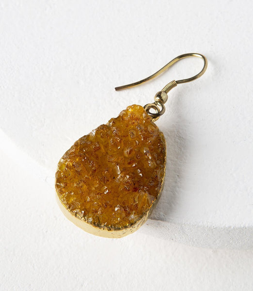 Gift Ideas -  Earrings Rishima Druzy Drop Earrings - Citrine, Dark Blue, Light Blue, & White