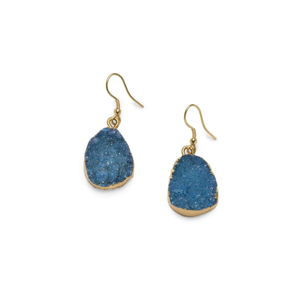 Gift Ideas -  Earrings Rishima Druzy Drop Earrings - Dark Blue, Light Blue, & White