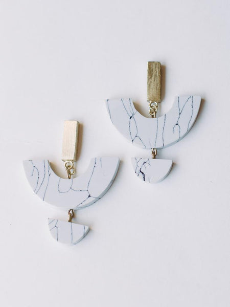 Geometric Brass Earrings - Silver