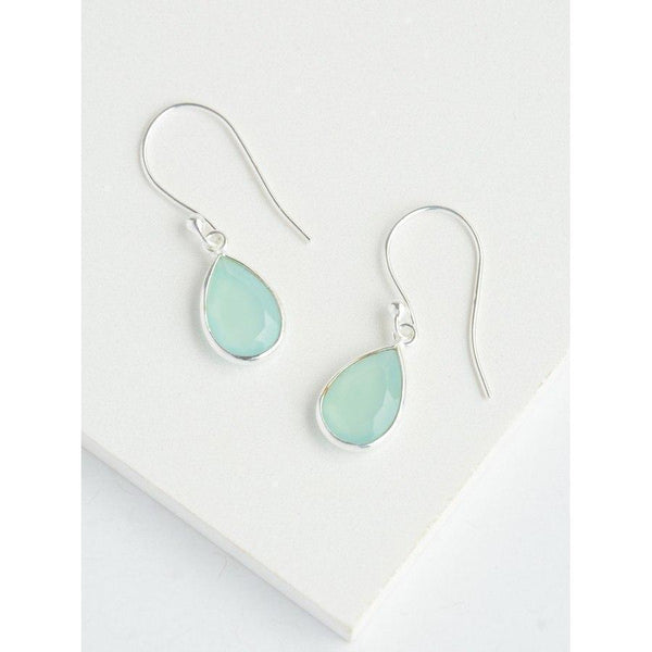 Gift Ideas -  Earrings Sterling Silver Raindrop Earrings in Aqua Chalcedony