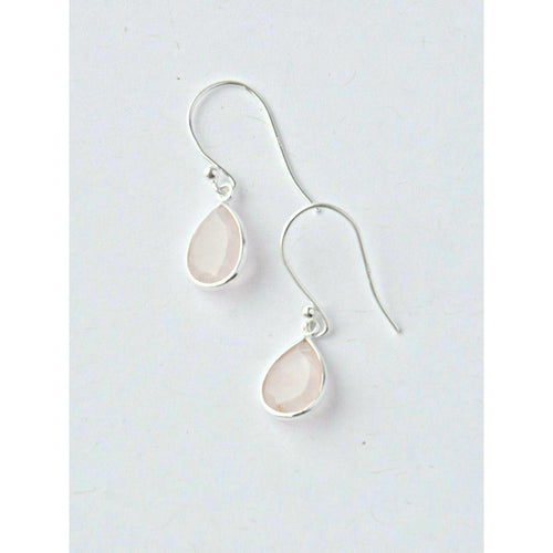 Gift Ideas -  Earrings Sterling Silver Raindrop Earrings in Rose Quartz