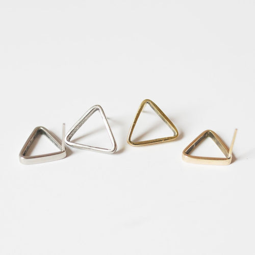 Gift Ideas -  Earrings Triangle Stud Earrings - Brass or Silver