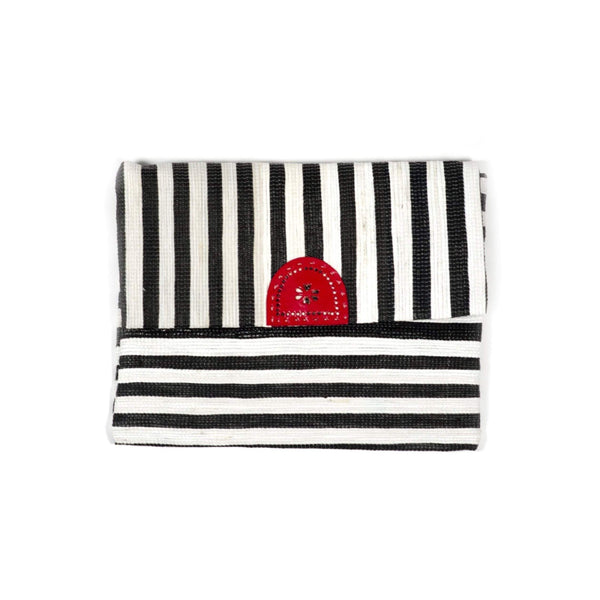 Gift Ideas -  Handbags + Clutches Mod Upcycled Clutch or iPad Case - Black & White Stripe