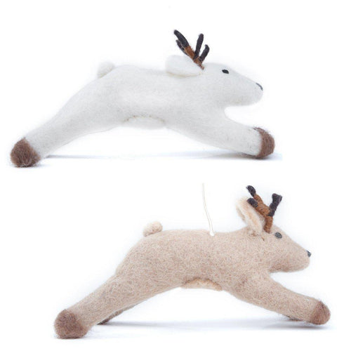 Gift Ideas -  Home Accents Felt Leaping Deer Ornament - Brown or White