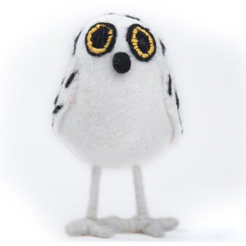 "Gift Ideas -  Home Accents Handmade Felt White Owl with Black Spots - 4"" Stand Up"