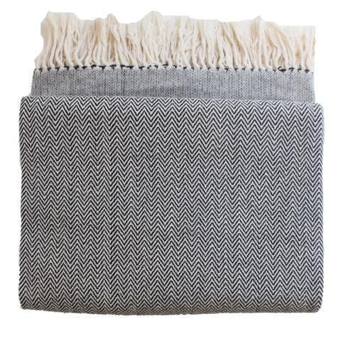 Gift Ideas -  Home Accents Handwoven Herringbone Heirloom Throw - Black or Grey