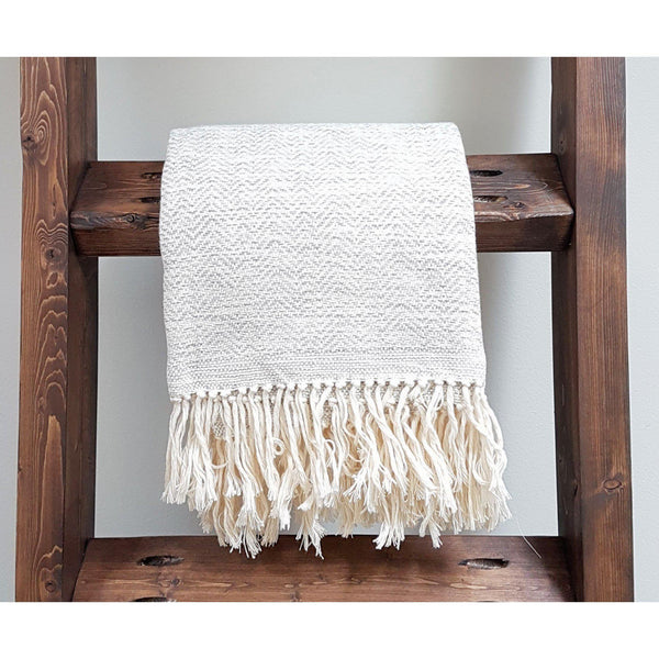 Gift Ideas -  Home Accents Handwoven Mixed Herringbone Heirloom Throw in Grey & Natural White
