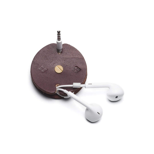 Gift Ideas -  Keychains + Tech Accessories Sustainable Leather Cord Holder - Sable