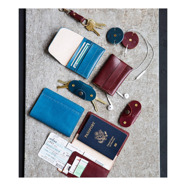 Gift Ideas -  Keychains + Tech Accessories Sustainable Leather Key Fob - Brown or Blue