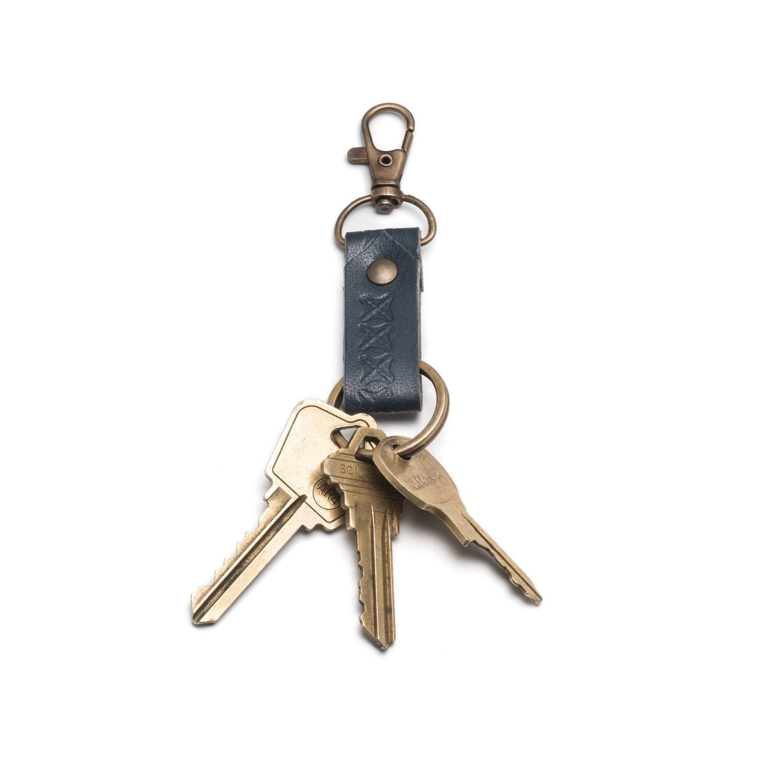 08cc9842e971e Sustainable Leather Key Fob in Brown or Blue