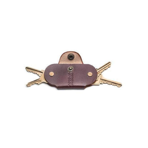 Gift Ideas -  Keychains + Tech Accessories Sustainable Leather Key Holder - Brown