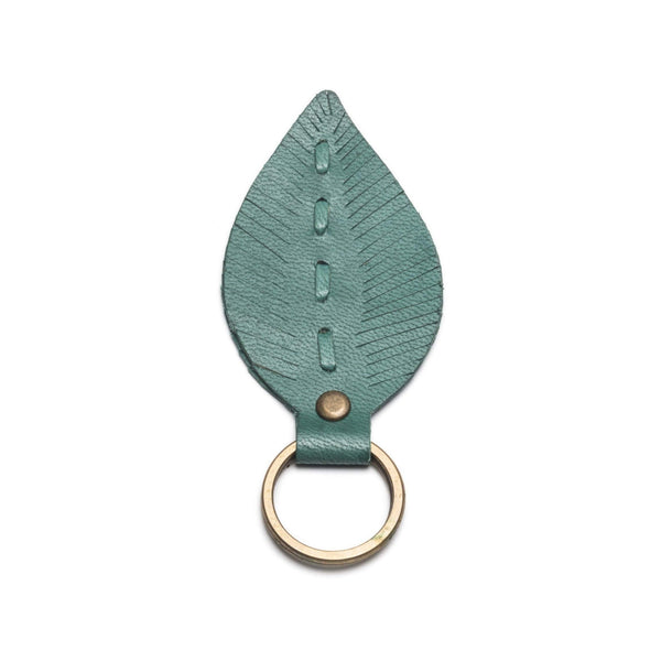 Gift Ideas -  Keychains + Tech Accessories Sustainable Leather Leaf Key Ring - Gold or Teal