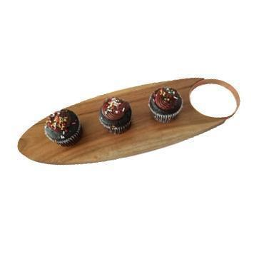 Gift Ideas -  Kitchen Acacia Wood Oval Serving Board with Copper Handle