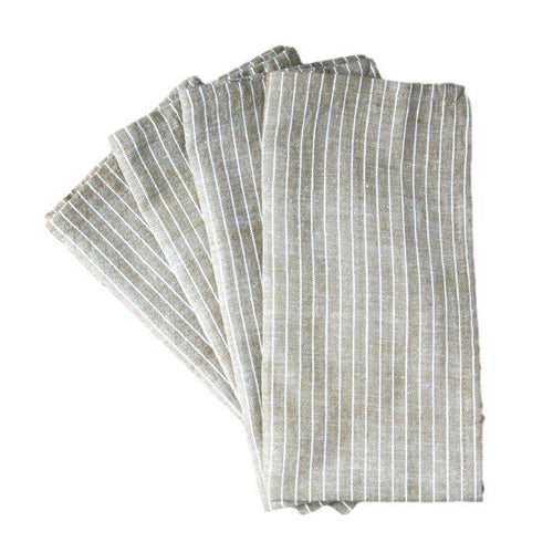 Gift Ideas -  Kitchen Cocoa Stripes Cotton Napkins - Set of Four