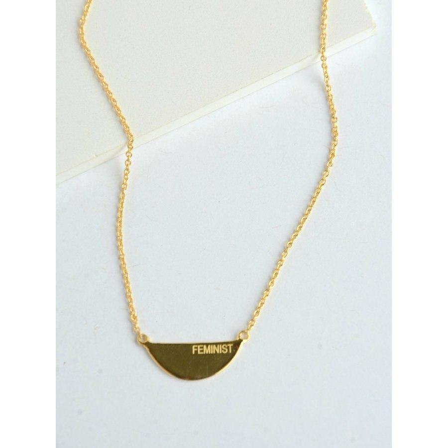 The Fair Feminist 14k Gold Necklace travel product recommended by Christine LeLacheur on Pretty Progressive.